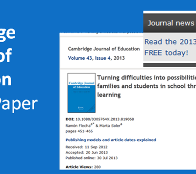 2013 Best Paper Prize- Cambridge Journal of Education para Ramon Flecha y Marta Soler